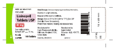LISINOPRIL TABLETS USP Rx Only 40 mg NDC 68180-517-01 							100 Tablets