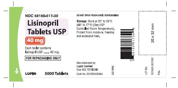 LISINOPRIL TABLETS USP 40 mg NDC 68180-517-30 							5000 Tablets Bulk Pouch for Repackaging
