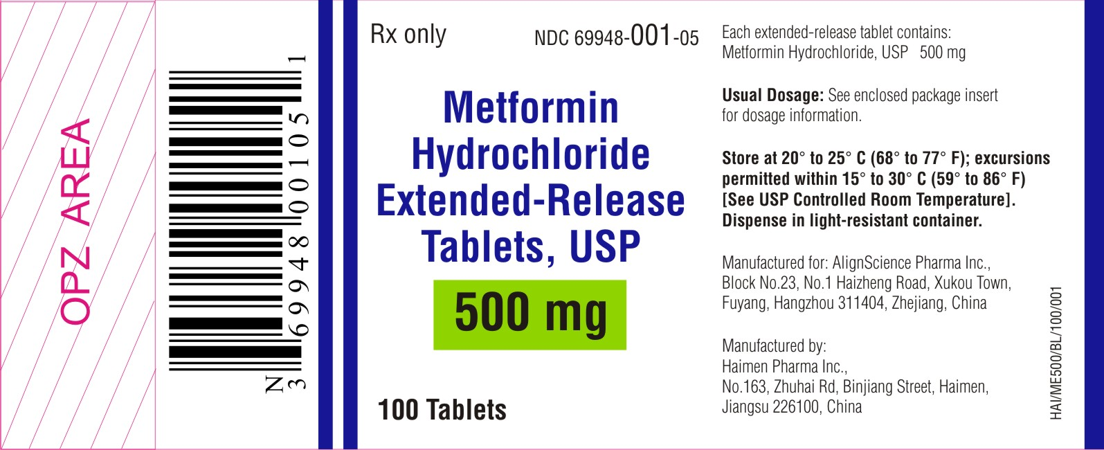 METFORMIN HYDROCHLORIDE EXTENDED-RELEASE TABLETS - 500 mg