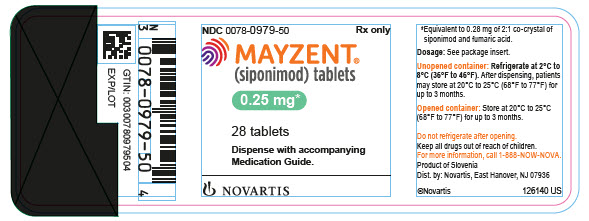 PRINCIPAL DISPLAY PANEL 								NDC 0078-0979-50 								Rx only 								MAYZENT® 								(siponimod) tablets 								0.25 mg 								28 tablets 								Dispense with accompanying Medication Guide. 								NOVARTIS