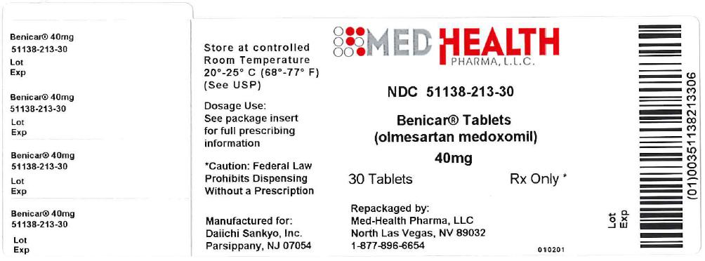 Benicar Tablets - Package Label - 20 mg 100 ct Carton