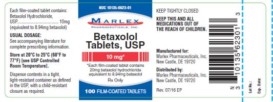 PRINCIPAL DISPLAY PANEL NDC 10135-0623-01 Marlex Betaxolol Tablets, USP 10 mg 100 film coated Tablets Rx Only