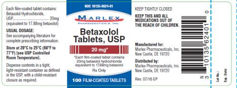 PRINCIPAL DISPLAY PANEL NDC 10135-0624-01 Marlex Betaxolol Tablets, USP 20 mg 100 film coated Tablets Rx Only