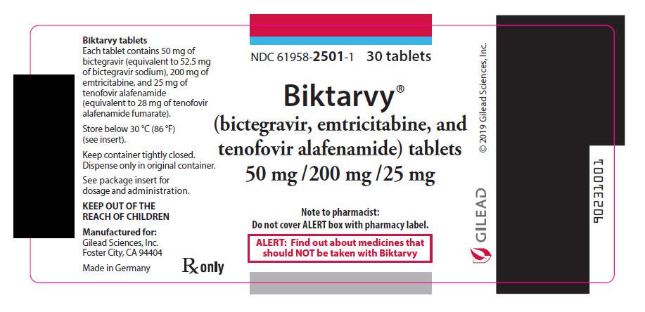 Rx Item-BIKTARVY BICTEGRAV/EMTRICITAB/TENOF ALA 30 tab by Gilead