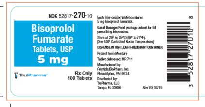 Principal Display Panel NDC 52817-270-10 Bisoprolol Fumarate Tablets, USP  5mg Rx Only 100 Tablets TruPharma