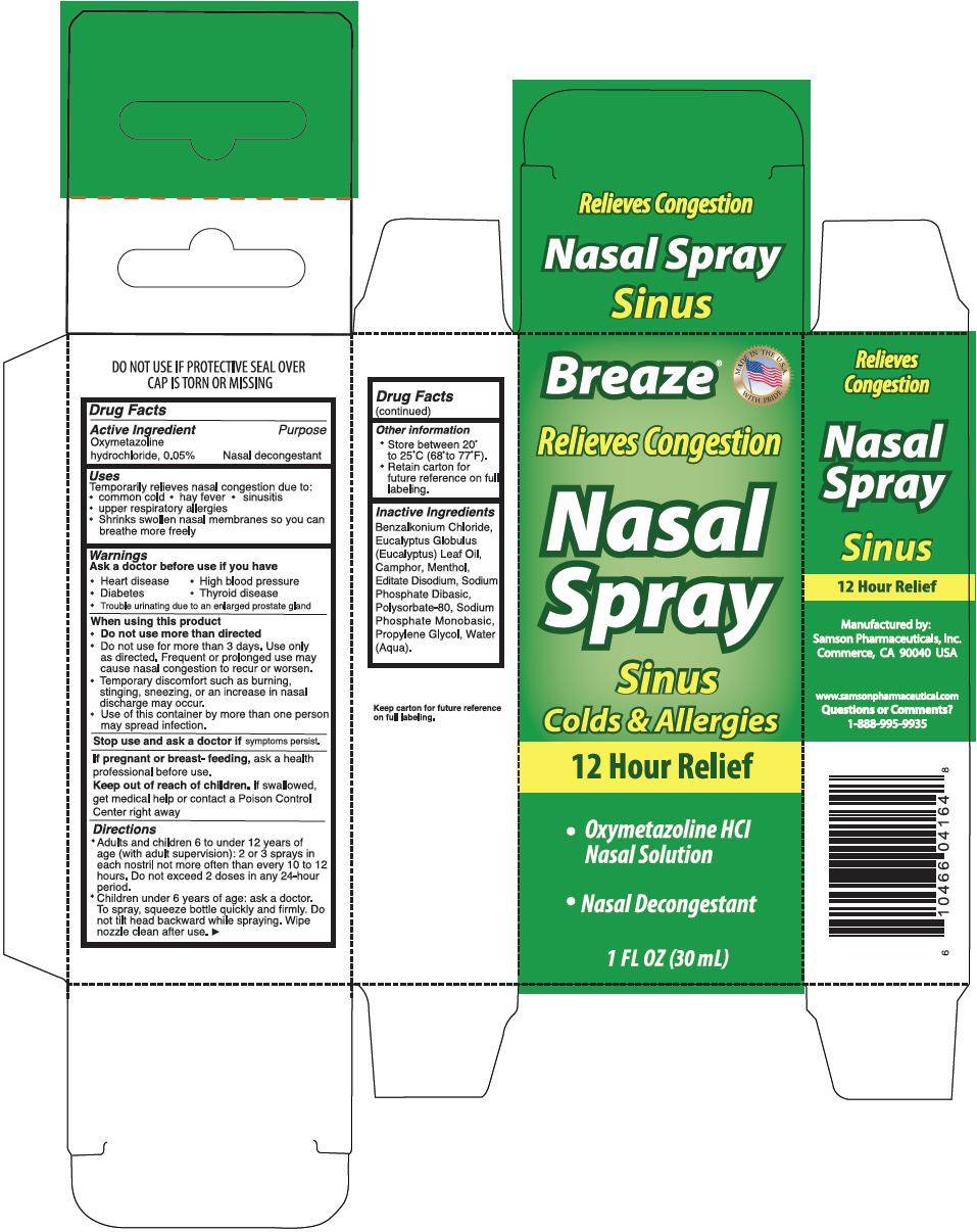 Breaze Nasal Sinus Colds And Allergies   Oxymetazoline Hydrochloride Spray while Breastfeeding