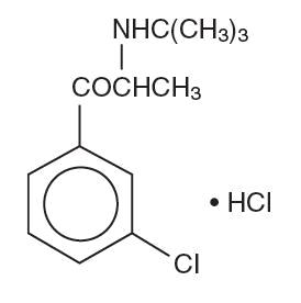The structural formula Bupropion Hydrochloride.