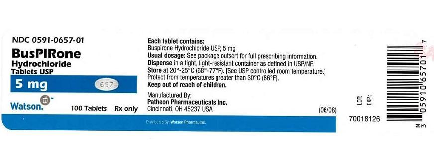 NDC 0591-0657-01 BusPIRone Hydrochloride Tablets USP 5 mg Watson    100 Tablets   Rx only