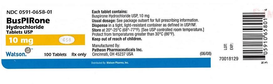NDC 0591-0658-01 BusPIRone Hydrochloride Tablets USP 10 mg Watson    100 Tablets   Rx only