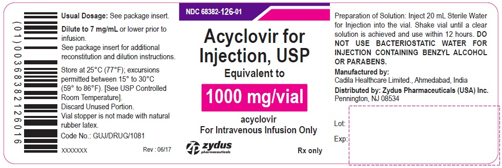 Acyclovir for Injection USP, 1000 mg/vial   Vial Label  Rx Only  				Acyclovir sodium Injection, 50 mg/mL