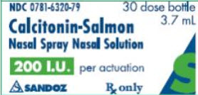 PRINCIPAL DISPLAY PANEL Package Label – 3.7 mL  Rx Only NDA 0781-6320-79 Calcitonin-Salmon  Nasal Spray Nasal Solution 30 dose bottle 200 I. U. per actuation For Intranasal Use Only