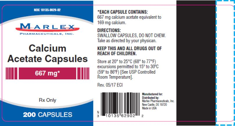 PACKAGE LABEL / PRINCIPAL DISPLAY PANEL NDC 10135-0629-02 Calcium  Acetate Capsules 667 mg Rx Only 200 Capsules