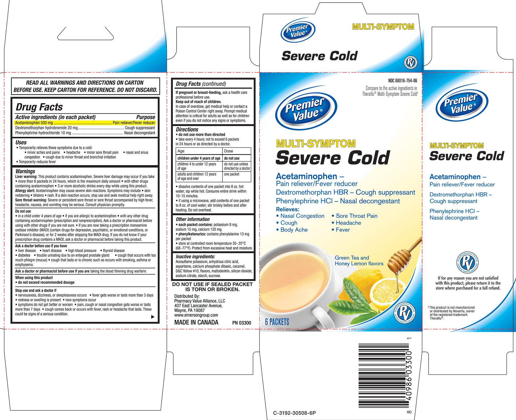 Premier Value Multi-symptom Severe Cold Green Tea And Honey Lemon Flavors Breastfeeding