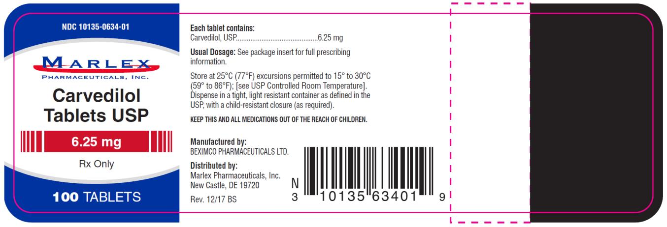 PRINCIPAL DISPLAY PANEL NDC 10135-0634-01 Carvedilol  Tablets USP 6.25 mg 100 Tablets Rx Only