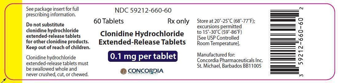 NDC 59212-660-60 60 Tablets Rx only Clonidine Hydrochloride Extended-Release Tablets  0.1 mg per tablet Manufactured for: Concordia Pharmaceuticals Inc. St. Michael, Barbados BB11005
