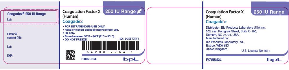 Rx Item-COAGADEX- coagulation factor x human kit BY 250IU  Bio Products Lab