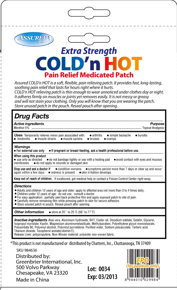 Is Extra Strength Cold N Hot Pain Relief Medicated   Menthol Patch safe while breastfeeding