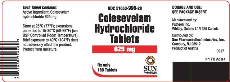 PRINCIPAL DISPLAY PANEL NDC 51660-996-28 Colesevelam Hydrochloride Tablets 625 mg 180 Tablets Rx Only