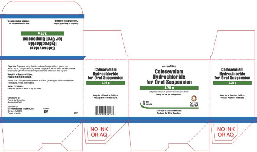 NDC 51660-995-30 Colesevelam Hydrochloride For Oral suspention 3.75 g 30 Packets Rx Only