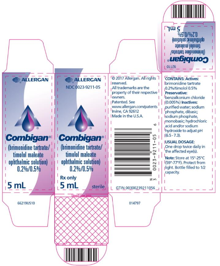 PRINCIPAL DISPLAY PANEL NDC 0023-9211-05 Combigan Rx Only 5 mL sterile