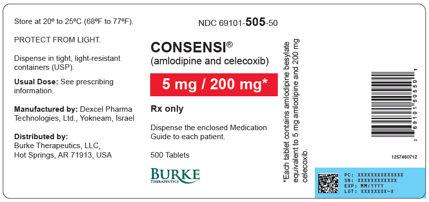 Rx Item-CONSENSI amlodipine besylate and celecoxib 5MG/200MG TAB BY BURKE THERQP