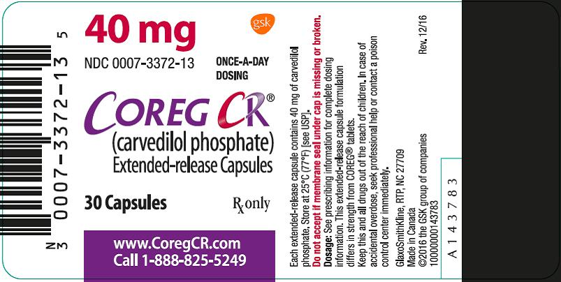 Coreg CR 40 mg 30 count label