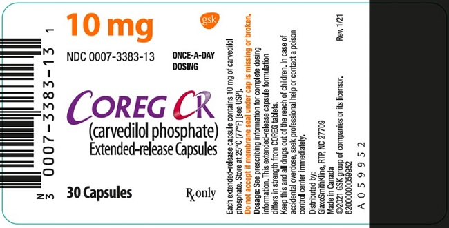 Coreg CR 10 mg 30 count label