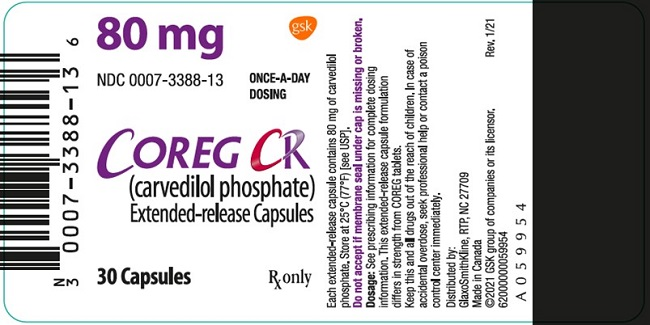 Coreg CR 80 mg 30 count label