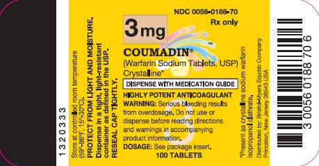 COUMADIN 3 mg 100 Tablets