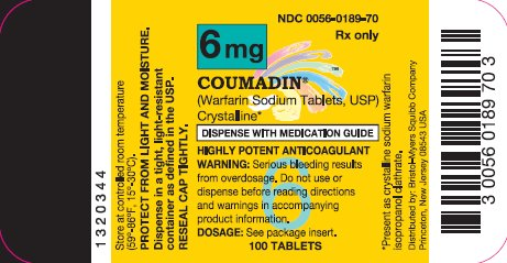 COUMADIN 6 mg 100 Tablets