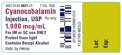 NDC 0143-9621-01 1 mL Vial Cyanocobalamin Injection, USP Rx only 1,000 mcg/mL For IM or SC USE ONLY PROTECT FROM LIGHT Contains Benzyl Alcohol