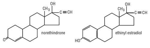These are the images of the structural formulas for norethindrone and ethinyl estradiol .