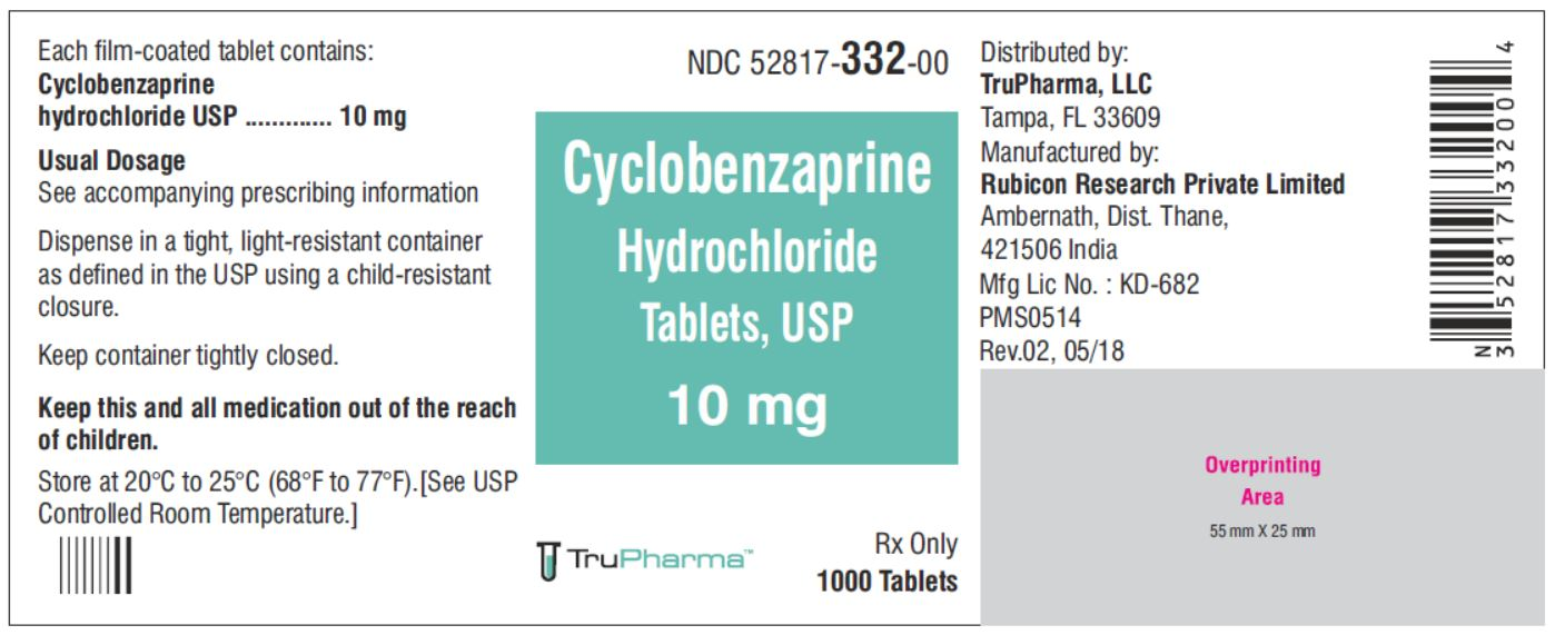 Cyclobenzaprine hydrochloride, USP-10 MG - NDC  52817-332-00 bottles of 1000 Tablets