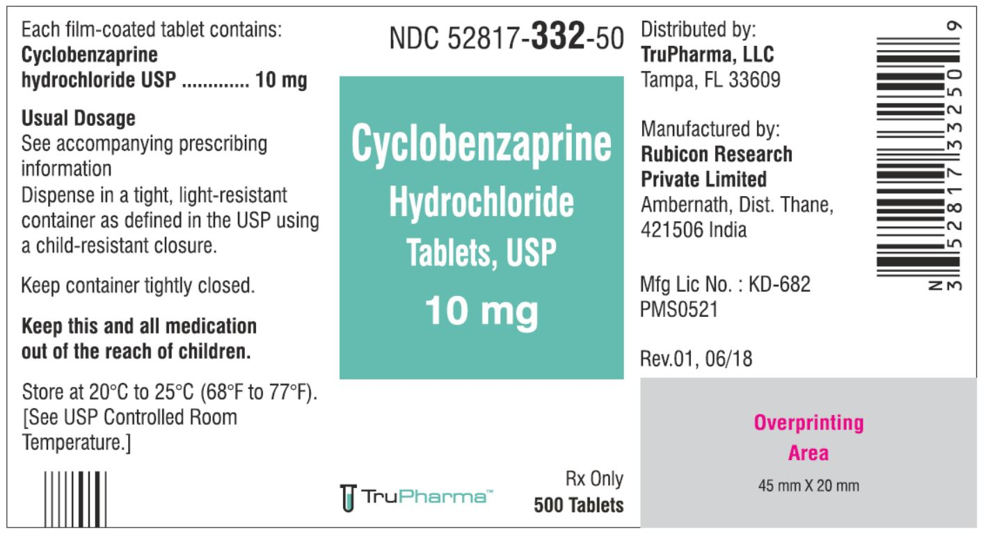 Cyclobenzaprine hydrochloride, USP-10 MG - NDC  52817-332-50 bottles of 500 Tablets