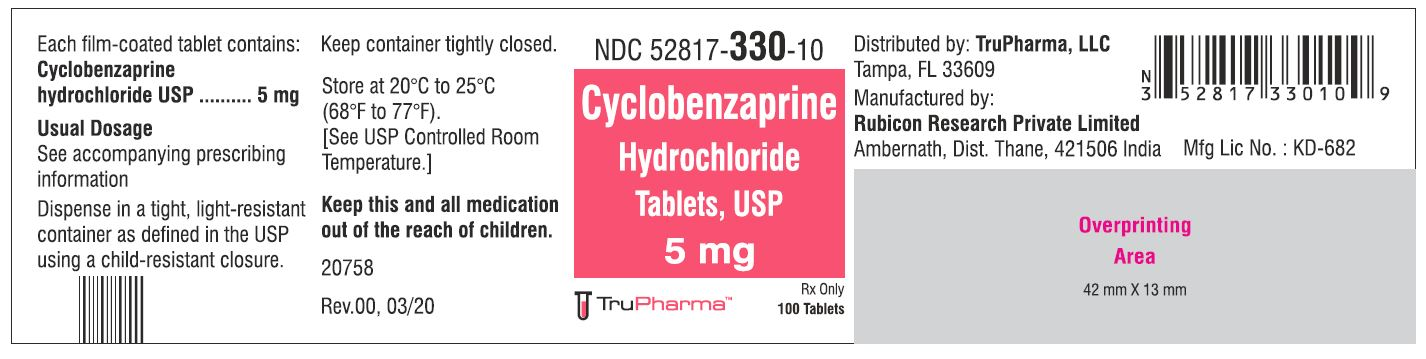 Cyclobenzaprine hydrochloride, USP-5 MG - NDC  52817-330-10 bottles of 100 Tablets
