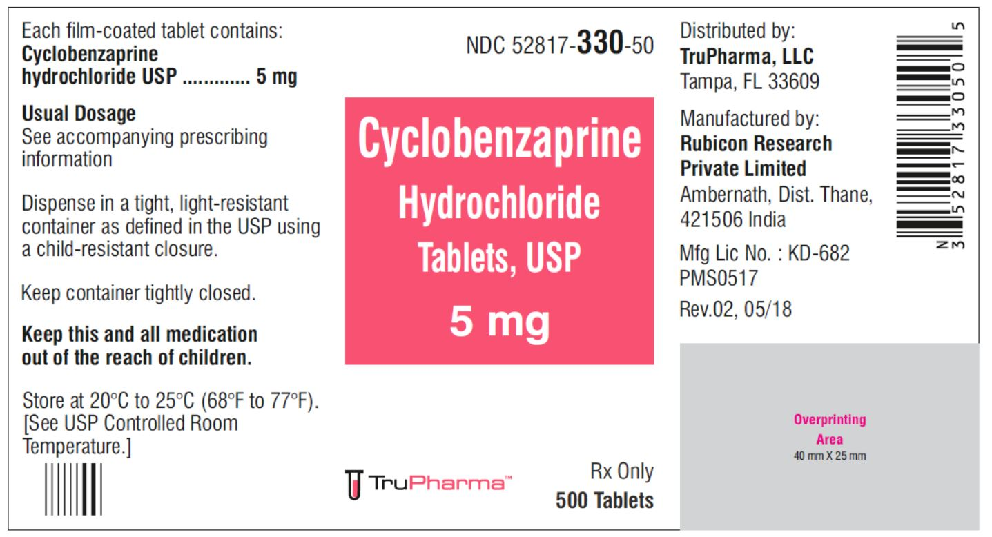 Cyclobenzaprine hydrochloride, USP-5 MG - NDC 52817-330-50 bottles of 500 Tablets
