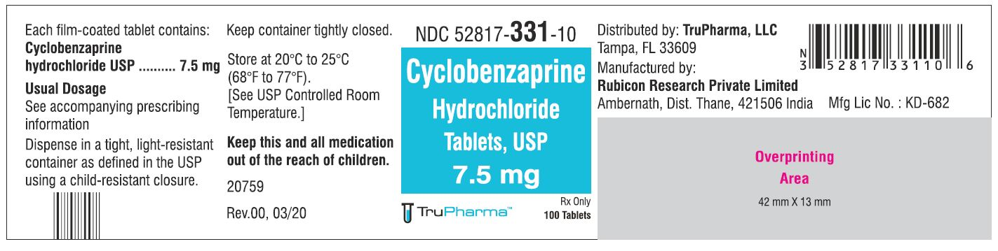 Cyclobenzaprine hydrochloride, USP-7.5 MG - NDC 52817-331-10 bottles of 100 Tablets