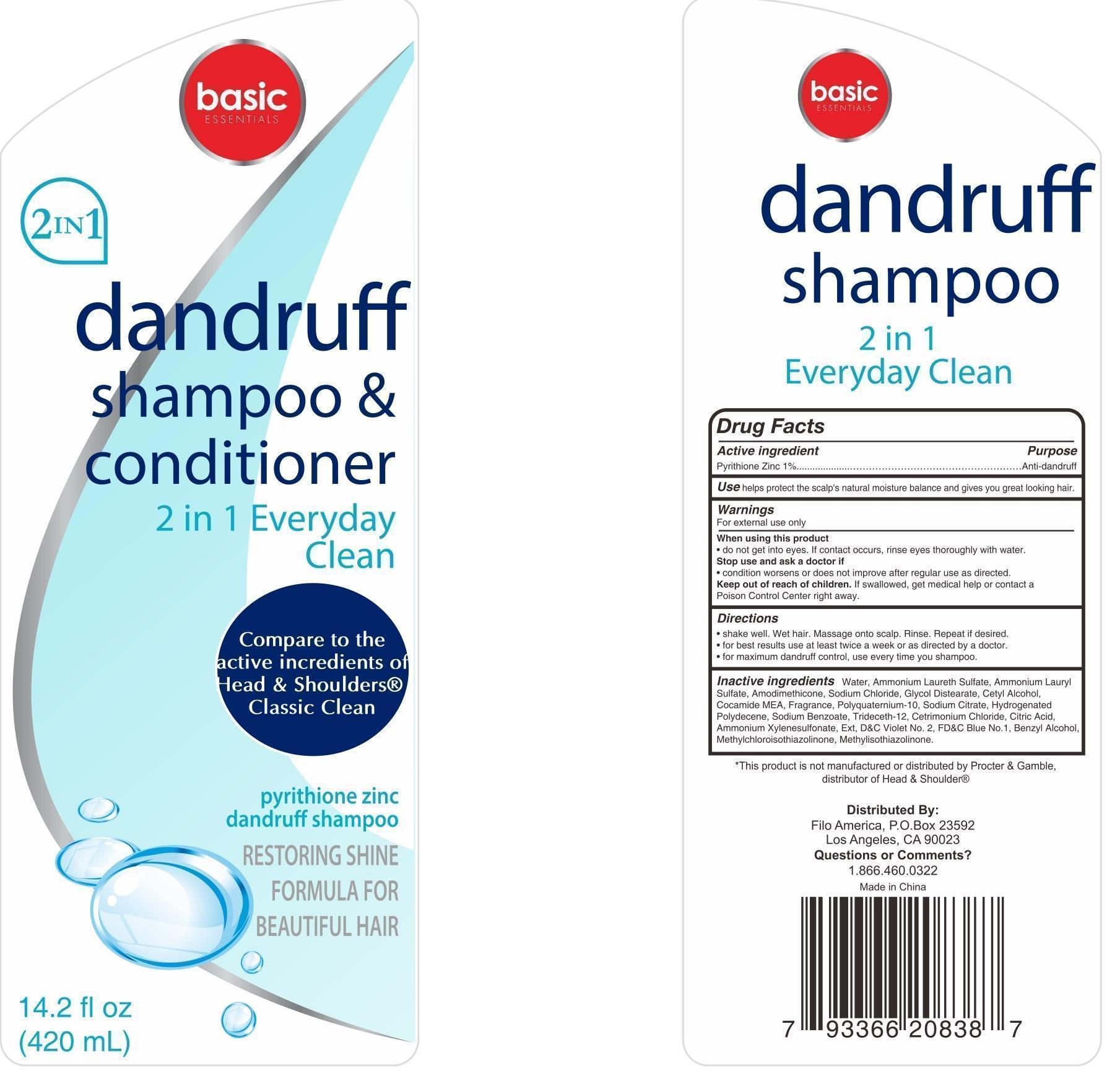 Basic Essentials Dandruff (clean And Conditioner) 2 In 1 Everyday Clean | Pyrithione Zinc Shampoo Breastfeeding