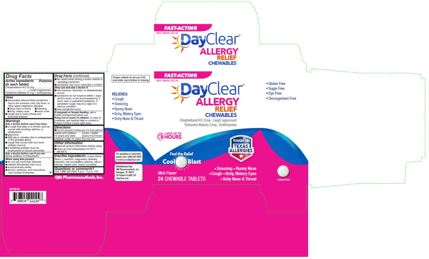 PRINCIPAL DISPLAY PANEL NDC 58809-222-24 DayClear Allergy Relief Chewables 24 Chewable Tablets