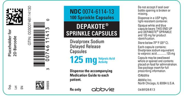NDC 0074–6114–13  100 Sprinkle Capsules  DEPAKOTE® SPRINKLE CAPSULES  Divalproex Sodium Delayed Release Capsules  125 mg Valproic Acid Activity  Dispense the accompanying Medication Guide to each patient.  Rx only abbvie