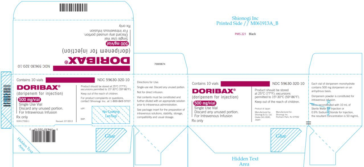 NDC 59630-320-10 DORIBAX® (doripenem for injection) 500 mg/vial Contains 10 vials Rx only