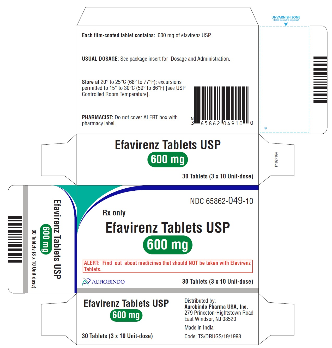 PACKAGE LABEL-PRINCIPAL DISPLAY PANEL - 600 mg Blister Carton (3 x 10 Unit-dose)
