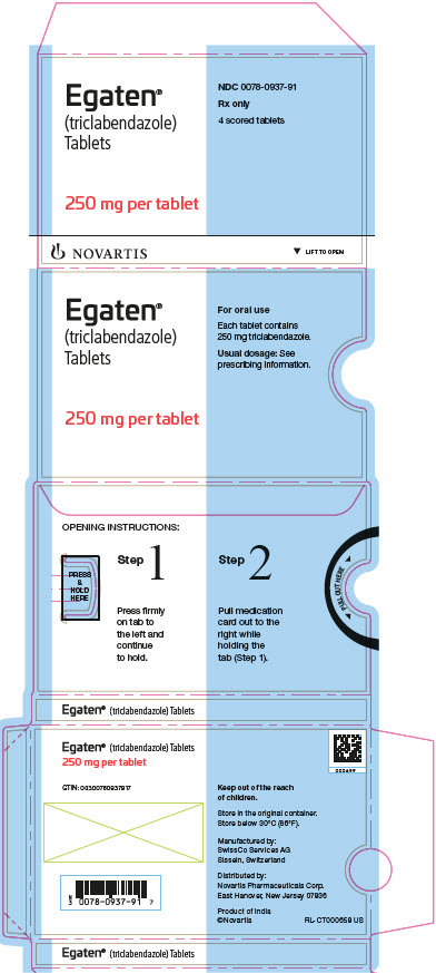 PRINCIPAL DISPLAY PANEL Egaten® (triclabendazole) Tablets 250 mg per tablet NDC 0078-0937-91 Rx only 4 scored tablets Novartis