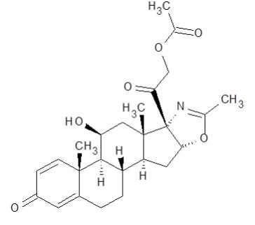 The structural formula for EMFLAZA is deflazacort (a corticosteroid).  Corticosteroids are adrenocortical steroids, both naturally occurring and synthetic.  The molecular formula for deflazacort is C25H31NO6.  The chemical name for deflazacort is (11β,16β)-21-(acetyloxy)-11-hydroxy-2'-methyl-5'H-pregna-1,4-dieno[17,16-d]oxazole-3,20-dione.