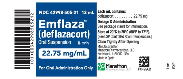 PRINCIPAL DISPLAY PANEL NDC 42998-505-21 Emflaza (deflazacort) Oral Suspension 22.75 mg/ mL 13 mL Rx Only
