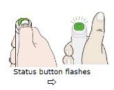 To start injection: Press and release the green status button.