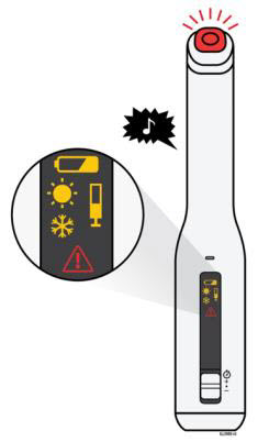 The AutoTouch™ reusable autoinjector makes a chime sound, lights the status button red, and displays an error symbol if there is a problem. See the following description of each error symbol, possible reasons for the error, and actions you can take.