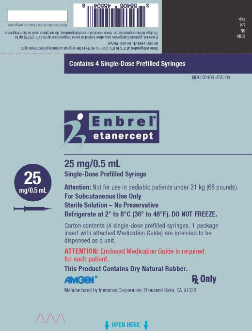 PRINCIPAL DISPLAY PANEL Contains 4 Single-Dose Prefilled Syringes NDC 58406-455-04 Enbrel® etanercept 25 mg/0.5 mL Single-Dose Prefilled Syringe 25 mg/0.5 mL Attention: Not for use in pediatric patients under 31 kg (68 pounds). For Subcutaneous Use Only Sterile Solution – No Preservative Refrigerate at 2° to 8°C (36° to 46°F). DO NOT FREEZE. Carton contents (4 single-dose prefilled syringes, 1 package insert with attached Medication Guide) are intended to be dispensed as a unit. ATTENTION: Enclosed Medication Guide is required for each patient. This Product Contains Dry Natural Rubber. AMGEN® Rx Only Manufactured by Immunex Corporation, Thousand Oaks, CA 91320