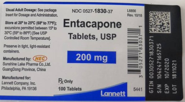 Entacapone Tablets USP 200 mg 100s Bottle Label