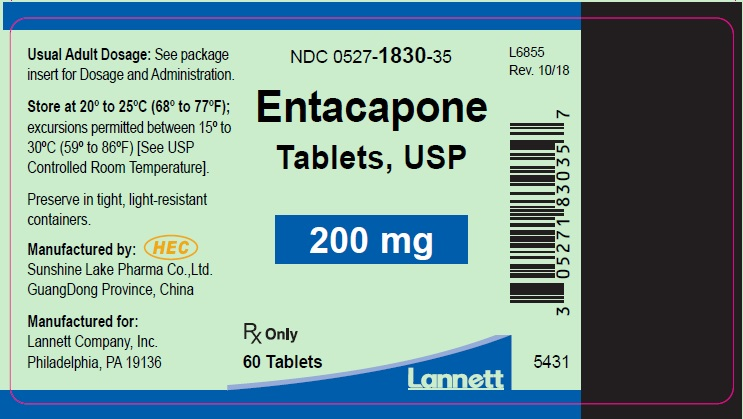Entacapone Tablets USP 200 mg 60s Bottle Label